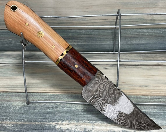 """USA Made Texas PINE Wood & Rosewood Handle 8"""" Knife with Sheath Full Tang Skinner Hunting Damascus Steel Fixed Blade Dixie Cowboy Tx24"""