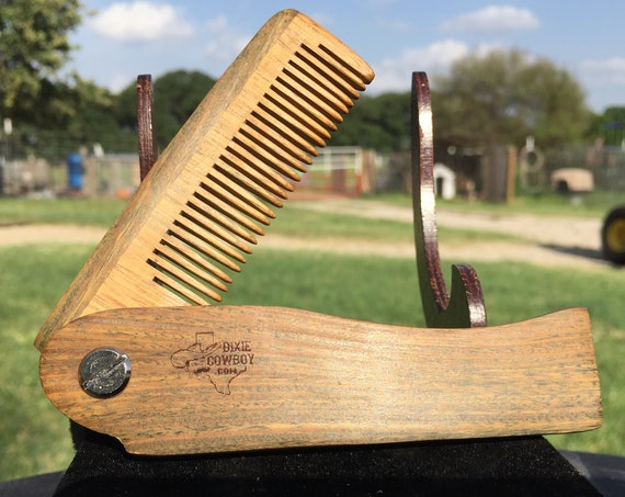 "Handmade 7"" SANDALWOOD FOLDING COMB Perfect Gift Wood Hair Comb Folding Pocket Purse Styling Beard Mustache Men's Women's V20"