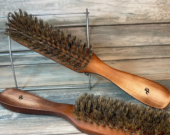 """USA Made NATURAL BOAR 8.5"""" Brown Distressed Shabby Chic Bristle Mid Firm to Firm Styling Smoothing Finishing Brush Hair Wood Dixie Cowboy"""