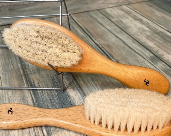 "USA Made 100% Texas GOAT Brush Farm Raised Goats Hair Bristle 7"" Beechwood Wood Handle Hair Body Face Dry Barber Neck Duster Beard Baby"