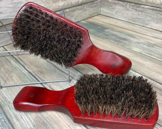 """USA MADE Red Reclaimed Wood & Natural BOAR Hair  7"""" Bristle Soft medium Club Brush Hair Beard Handle Dixie Cowboy J61"""