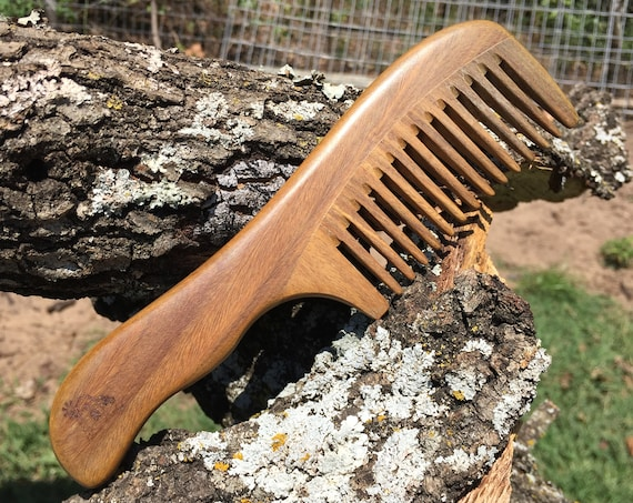"Handmade Green SANDALWOOD 7"" 7.5"" Handle Detangler Detangling Thick Deep Wide Tooth Toothed Wet WOOD Hair COMB Dixie Cowboy Y10"