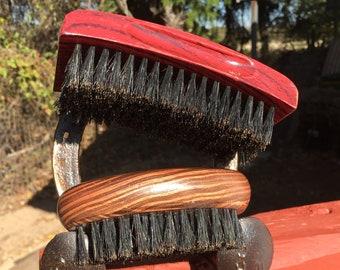 2pc Gift Set USA Made Natural BOAR Hair Brush Soft Medium & Firm Perfect Beard Combo Bristle Wood Palm Military Dixie Cowboy tx1