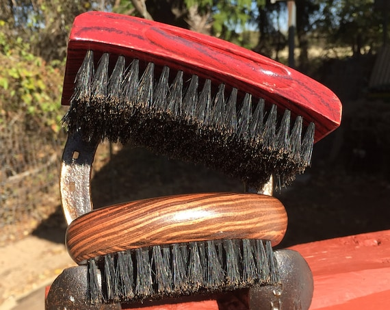 2pc BOAR Hair Brush Christmas GIFT Set Soft Medium & Firm Perfect Beard Combo Bristle Wood Palm Military USA Made Dixie Cowboy tx1