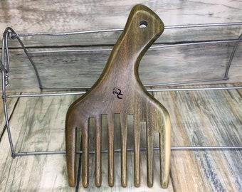 "USA Made Handmade Green SANDALWOOD 5"" 5.5"" Pick Tease Teasing Handle Detangler Wide Wet Detangling Tooth Wood Hair COMB Dixie Cowboy w28"