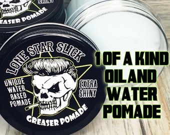 GREASER POMADE Extra SHINY Unique Oil & Water Based Hair Grease Pomade 5oz Rockabilly Styling Wax Washes Out Dixie Cowboy Lone Star Slick