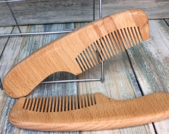 "USA MADE Perfect BEARD Pocket Purse or Mustache Comb Beechwood 6"" Wood Styling Dressing Finishing Fine Tooth Hair Dixie Cowboy B1"
