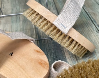 "USA Made BOAR Hair Body Shower 5"" SCRUB Brush Exfoliating Cellulite Bath Dry Skin Brushing Bristle Wood Dixie Cowboy tx17"