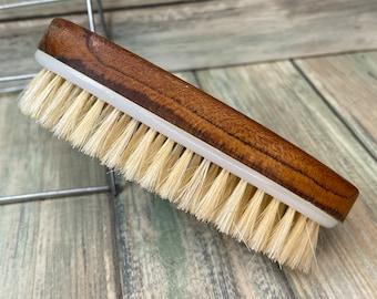 "USA Made BOAR Hair TEAK Wood Body Shower 5"" Scrub Brush Exfoliating Cellulite Bath Dry Skin Brushing Bristle Dixie Cowboy k17"