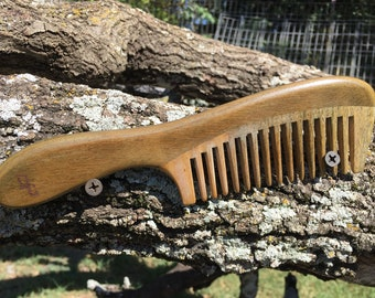 "Handmade Green SANDALWOOD 8"" Handle Detangler Detangling Thick Deep Wide Tooth Toothed Wet WOOD Hair COMB Dixie Cowboy D18"