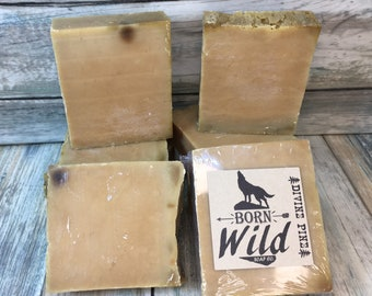 Divine PINE & OLIVE OIL Soap - Born Wild Soap Co. - Bar Herbal Essential Oils All Natural and Organic Ingredients 4 oz Dixie Cowboy