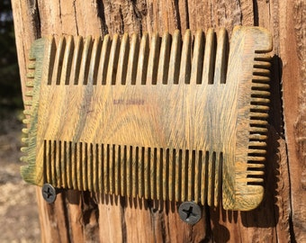 "Handmade Four 4 Sided Green SANDALWOOD 4"" Styling Dress Pocket Perfect Beard Mustache Short Hair or Pet WOOD Hair COMB Dixie Cowboy w005"