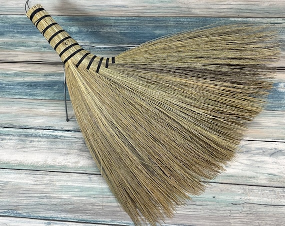 """USA Made SILVERGRASS Miscanthus Bamboo Whisk Car Table 12"""" Turkey Wing Broom Corner Hand Brush Cleaning Kitchen Eco Friendly Dixie Cowboy"""