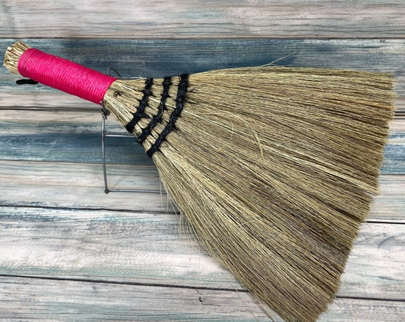 """USA Made Handmade SILVERGRASS Miscanthus Bamboo Whisk Car Table 12"""" Broom Corner Hand Brush Cleaning Kitchen Eco Friendly Dixie Cowboy"""