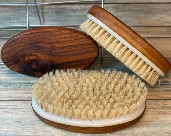 "USA Made BOAR Hair TEAK Wood Body Shower 5"" Scrub Brush Exfoliating Cellulite Bath Dry Skin Brushing Bristle Dixie Cowboy k17"