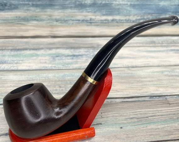 USA Made Rare EBONYWOOD Black Ebony Wood PIPE Set Tobacco Smoking Pipe Men's & Women's Carved Wood Handcrafted Dixie Cowboy P5