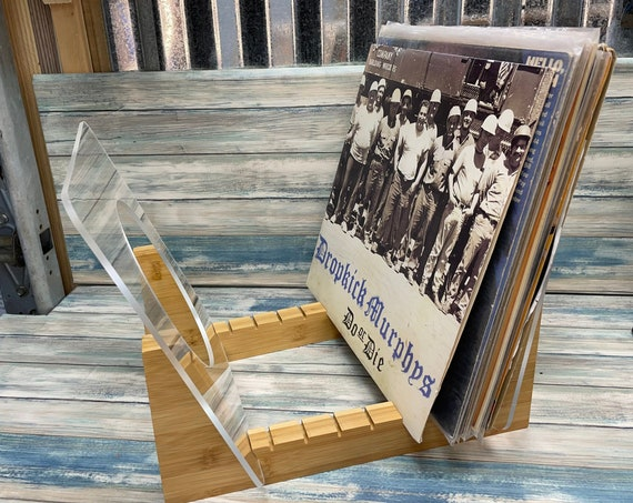 """USA Made Vinyl Record LP Flip Rack Storage Display Real Bamboo Wood Wooden Holder Stores 50+ Albums FREE Priority Mail Shipping 45 7"""""""