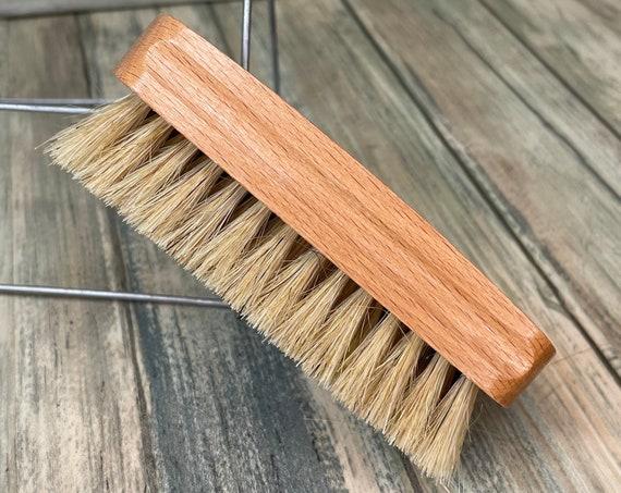"USA Made Rare Natural Color Tan BOAR Hair Beechwood Wood Beard Bristle Brush BEARDS Short Hair 4.5"" Medium Palm Dixie Cowboy E30"