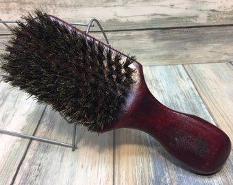 "USA Made Natural BOAR Hair 7"" Red Distressed Shabby Chic Bristle Soft Medium Firm Wave Club Brush Handle Beard Wood Handle Dixie Cowboy q18"