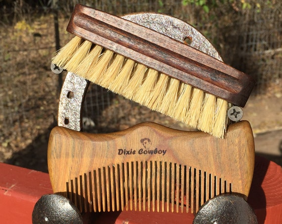 "2pc CHRISTMAS Gift Set BOAR Hair Wood Beard Bristle Brush & Sandalwood Comb 4.5"" Medium Palm Military USA Made Mustache Dixie Cowboy Q01"
