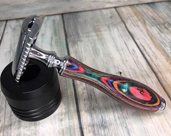 USA MADE Men's & Women's Painted Colorful Unique Wood Pakka Handle Shaving Razor Safety Double Edge DE Dixie Cowboy y12