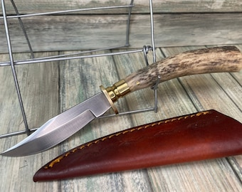 """USA Made Real Deer ANTLER Stag Horn Handle 7.5"""" Slim Skinner Skinning Knife Leather Sheath Hunting Camping Steel Fixed Blade Dixie Cowboy"""
