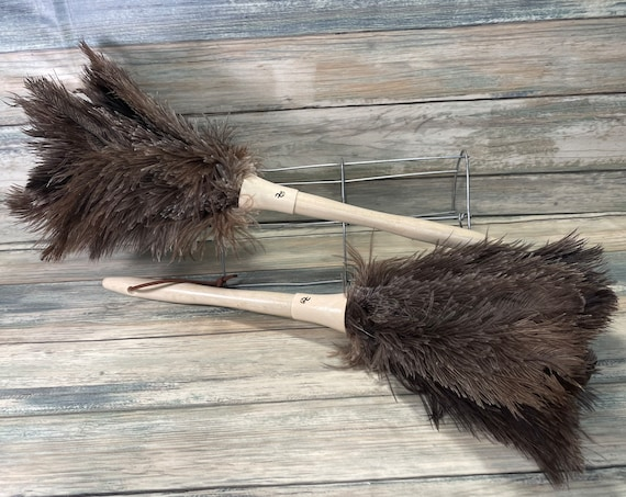 "USA Made Real OSTRICH Feather & Wood Duster dusting brush 14"" 15"" Eco Friendly Dixie Cowboy"