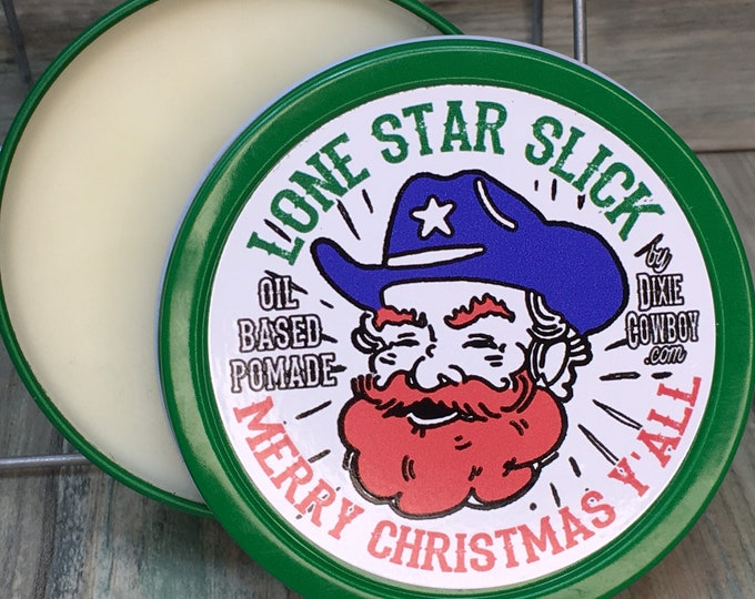 Featured listing image: MERRY CHRISTMAS Y'ALL Hair Pomade Lone Star Slick Christmas Texas Holiday Natural Organic 4oz Rockabilly Greaser Wax Grease Dixie Cowboy