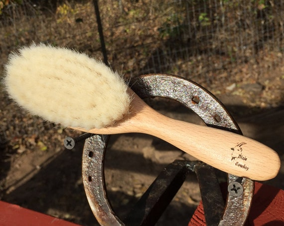 "100% Texas GOAT Brush Farm Raised Goats Hair Bristle 7"" Beechwood Wood Handle Hair Body Face Skin Dry Barber Neck Duster Beard Baby Q05"
