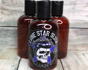 Lone Star Slick BRILLIANTINE 4oz Liquid Hair Groom Oil Tonic Dixie Cowboy Styling HIGH SHINE Friction Lotion Hair Dress Topper Men's Women's