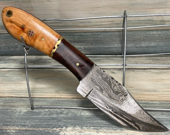 """USA Made Texas PINE Wood & Rosewood Handle 8"""" Knife with Sheath Full Tang Skinner Hunting Damascus Steel Fixed Blade Dixie Cowboy Tx23"""