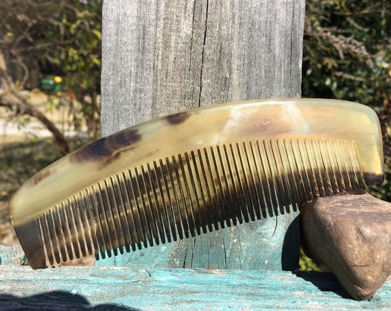 "Handmade Curved Hand Comb Thick Amber Black Brown BUFFALO Ox HORN 6"" Fine Medium Tooth Beard Mustache Pocket Hair Dixie Cowboy COMB t12"