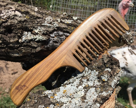 "Handmade Green SANDALWOOD 7"" 7.5"" Handle Detangler Detangling Thick Deep Wide Tooth Toothed Wet WOOD Hair COMB Dixie Cowboy W24"
