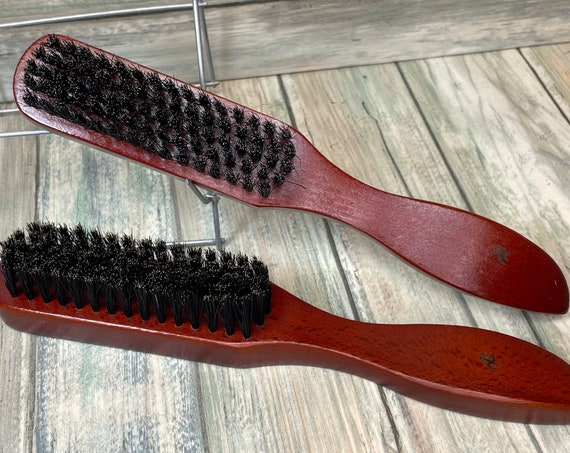 "USA Made BOAR Hair 8.5"" Red Beechwood Wood Soft Mid Firm Styling Smoothing Detangling Finishing Wet Dry Brush Dixie Cowboy"