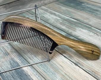 "USA Made Green Sandalwood Wood & Buffalo Ox HORN COMB Detangler Fine Tooth 7"" Round Handle Hair Beard Dixie Cowboy Anti Static D13"