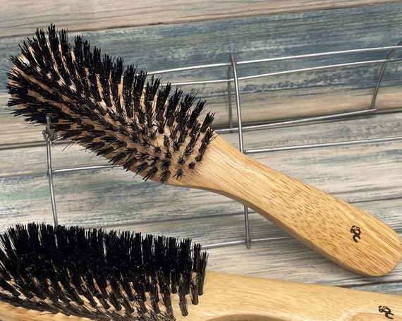 """USA MADE BOAR Hair Blend 8.5"""" Beechwood Wood Hair Brush Styling Flare Bristle Firm Medium Styling Smoothing Flair Curved Handle Dixie Cowboy"""