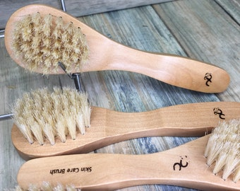 "USA Made SCRUB Nail Skin FACE Cleaning Scrubber Exfoliating Boar Hair Brush Mustache Beard Dry Brushing 6"" Bristle Wood Dixie Cowboy R14"