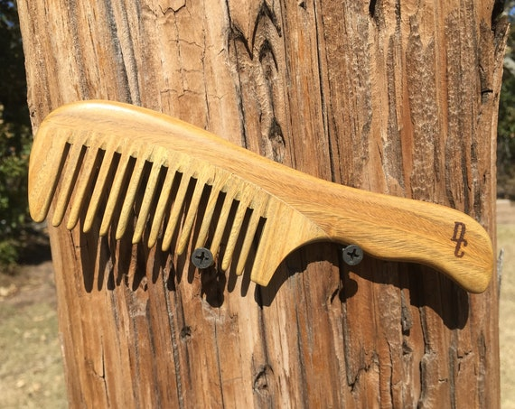 "Handmade Green SANDALWOOD 7"" 7.5"" Handle Detangler Detangling Thick Deep Wide Tooth Toothed Wet WOOD Hair COMB Dixie Cowboy D2"
