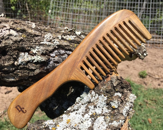 "Handmade Green SANDALWOOD 7"" 7.5"" Handle Detangler Detangling Thick Deep Wide Tooth Toothed Wet WOOD Hair COMB Dixie Cowboy y17"