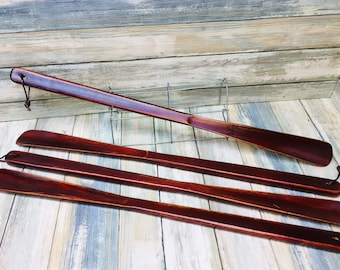 "USA MADE Texas OAK Stained Wood 22"" Extra Long Shoe Horn Shoehorn Helper Men's Women's Kids Eco Friendly Dixie Cowboy"