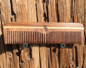 """Handmade TEXAS Rosewood 5"""" Combo Barber Styling Dressing Medium Fine & Wide Tooth WOOD Hair COMB Perfect Purse or Pocket Dixie Cowboy F30"""