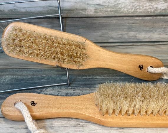 "USA Made Natural Color BOAR Hair Brush Wood Handle 7"" Bristle Soft Medium Styling Body Dry Skin Beard Dixie Cowboy"