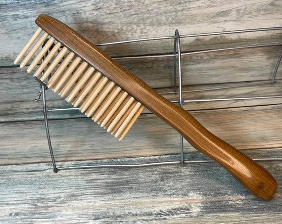 "USA Made Sandalwood & Bamboo Wood COMB Detangler Wet coarse Wide Tooth 8"" Handle Hair Beard Dixie Cowboy Anti Static A20"