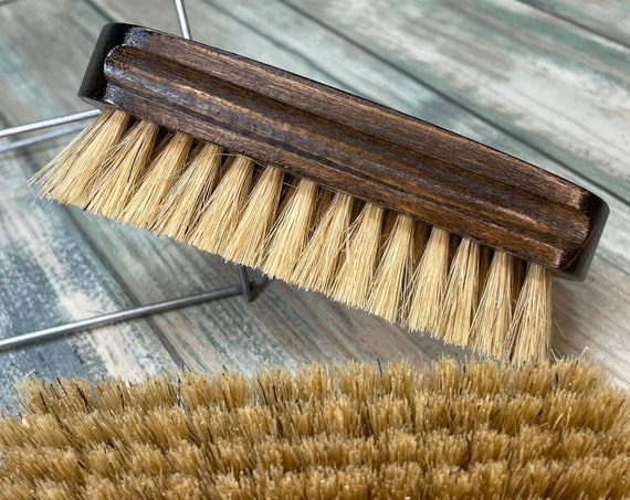 "USA Made Rare Natural Color Tan BOAR Hair Stained Beechwood Wood Beard Bristle Brush BEARDS Short Hair 4.5"" Medium Palm Dixie Cowboy"