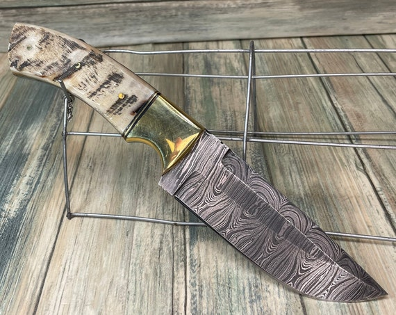 """USA Made Handmade Sheep RAM  Horn Handle 9.5"""" Skinning BOWIE Knife Colored Damascus Leather Sheath Hunting Steel Fixed Blade Dixie Cowboy"""