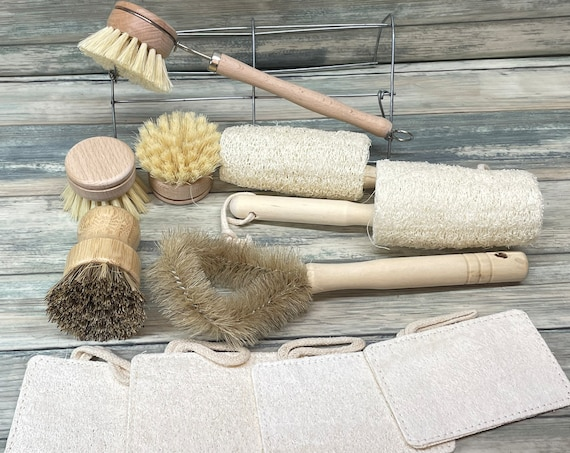 USA Made 11 Piece Plant Based Cleaning SET Reclaimed Wood & Coconut Fiber Sisal Loofah Scrubber Dish Pot Pan Utensils Kitchen Dixie Cowboy