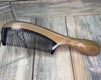 "Premium Sandalwood Wood & BUFFALO Ox HORN Combo COMB Fine Tooth 7"" Round Handle Pocket Hair Beard Dixie Cowboy Anti Static Electricity F36"