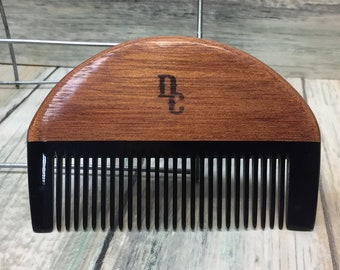 """USA Made Green Sandalwood & Buffalo Ox HORN 4"""" COMB Perfect For Beard and Mustache Unique Pocket Hand Held Hair Dixie Cowboy v11"""