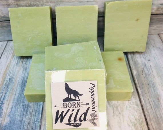 PEPPERMINT & OLIVE OIL Soap - Born Wild Soap Co. - Bar Herbal Essential Oils All Natural and Organic Ingredients 4.5 oz Dixie Cowboy