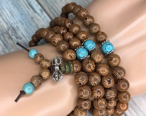 Handmade WENGE WOOD Prayer Bead Braclet or Necklace Buddhist Turquoise Accent 8mm 108 Beads Mala Elastic Men's Women's Dixie Cowboy J7